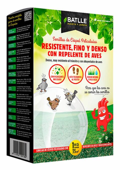 CESPED RESISTENTE, FINO Y DENSO CON REPELENTE DE AVES