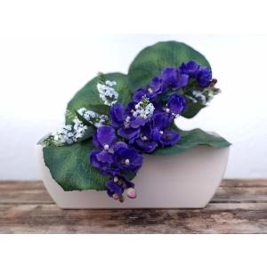 Flores artificiales jardinera Phalaenopsis azul