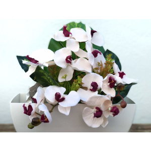 Flores artificiales jardinera Phalaenopsis Salmón