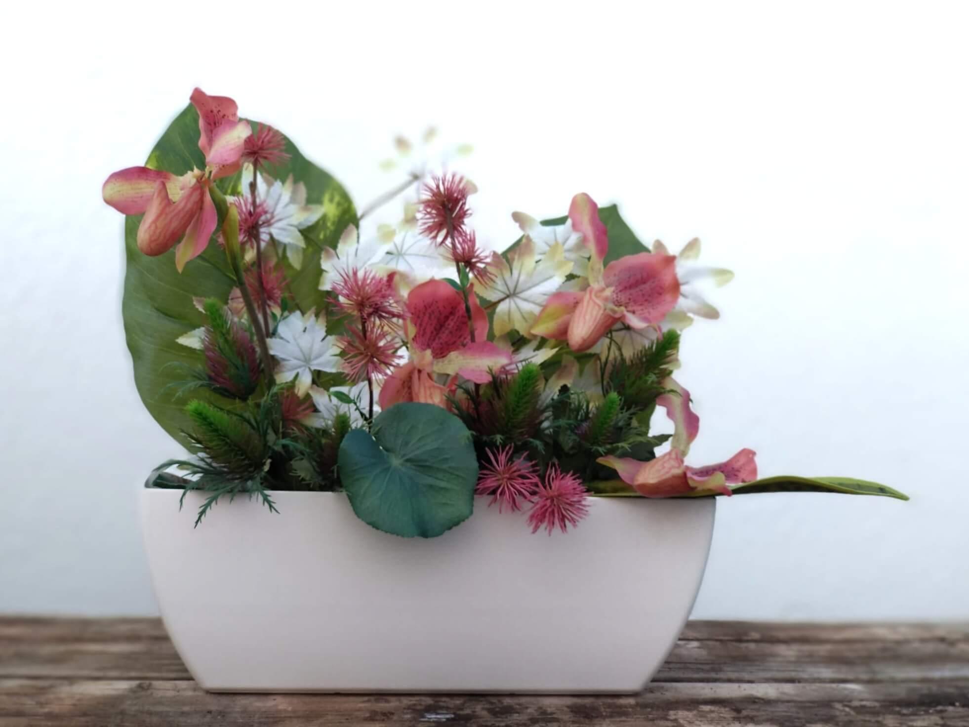 Flores artificiales jardinera venus