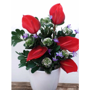 Plantas artificiales RAMO ANTHURIUM ROJO