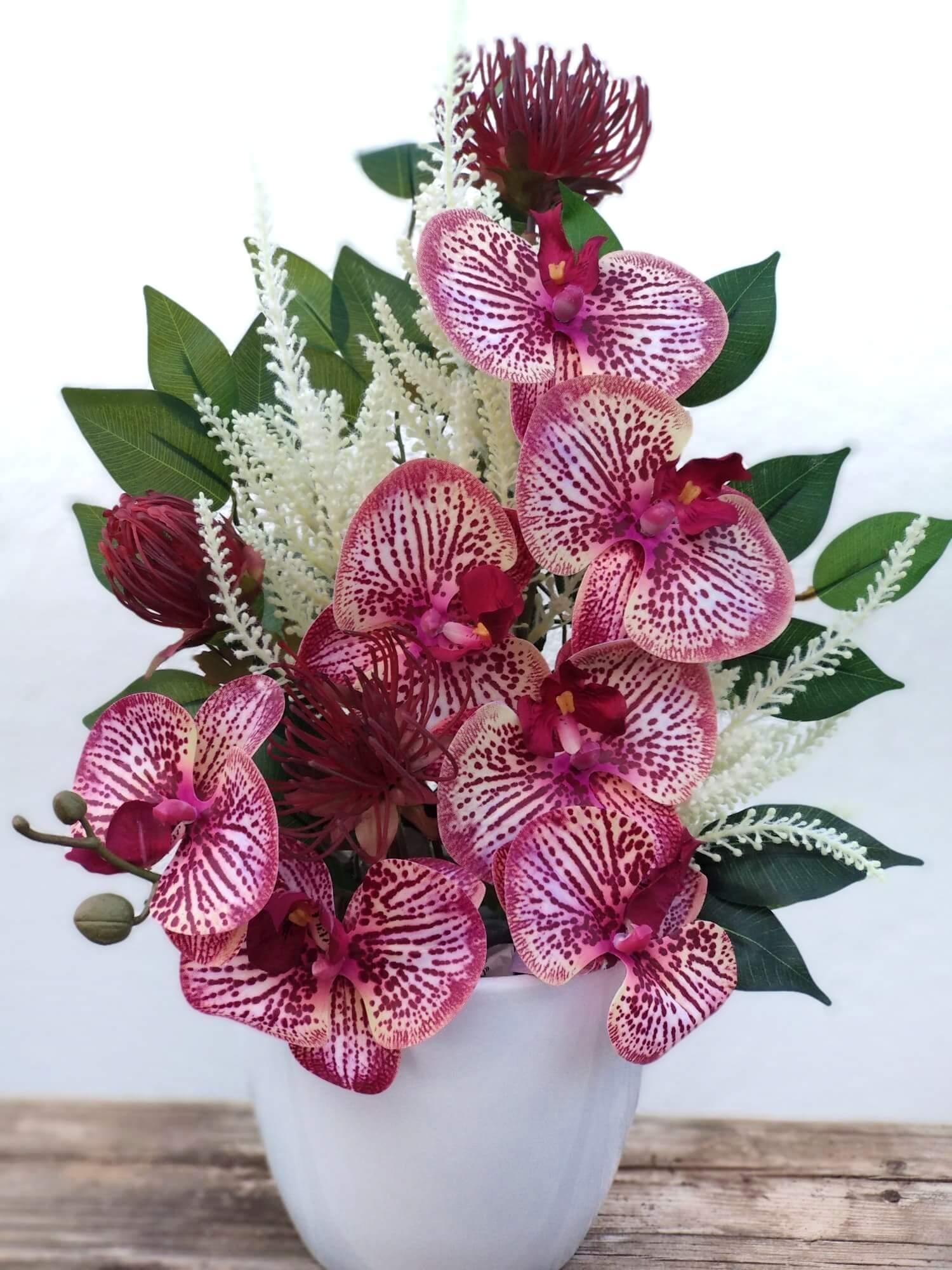 Flores artificiales ramo Phalaenopsis Magenta