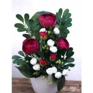 Flores artificiales ramo Ranúnculo rojo