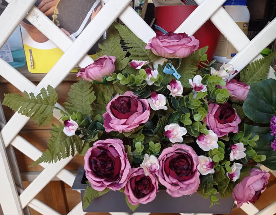 Jardinera Peonias flores artficiales