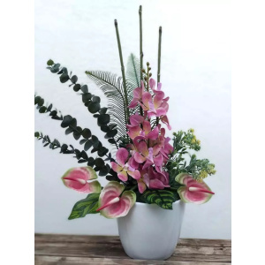 Flores artificiales orquidea y anthurium