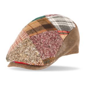 gorra lana solid patchwork cuero marron