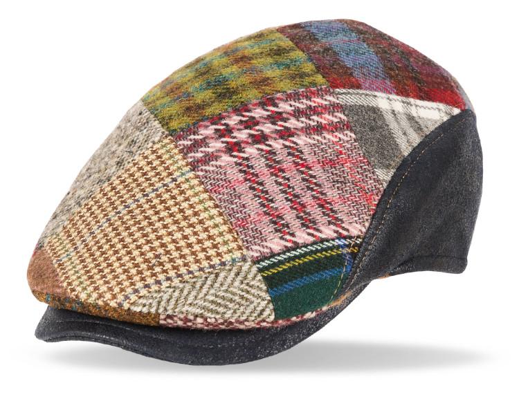 gorra lana Solid Patchwork cuero marino
